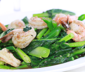 Chinese Broccoli w/Jumbo Shrimp