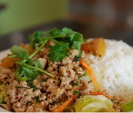 655.  Chopped Chicken Chili & Mint over Rice