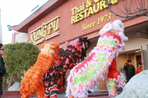 Chinese Lion dance martial art performers in China Town Las Vegas Kung Fu Restaurant