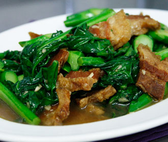 Chinese Broccoli and Thai Crispy Pork