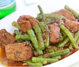 Tofu with Green Beans in spicy sauce