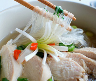 Chopped Chicken Glass Noodle Soup