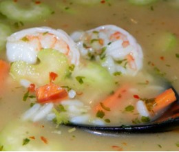 Rice Soup with Jumbo Shrimp